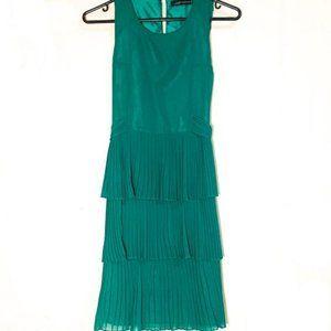 Zara Emerald Layered Pleated Dress